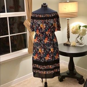 LOFT Off Shoulder Fit and Flare Dress NWT Size L